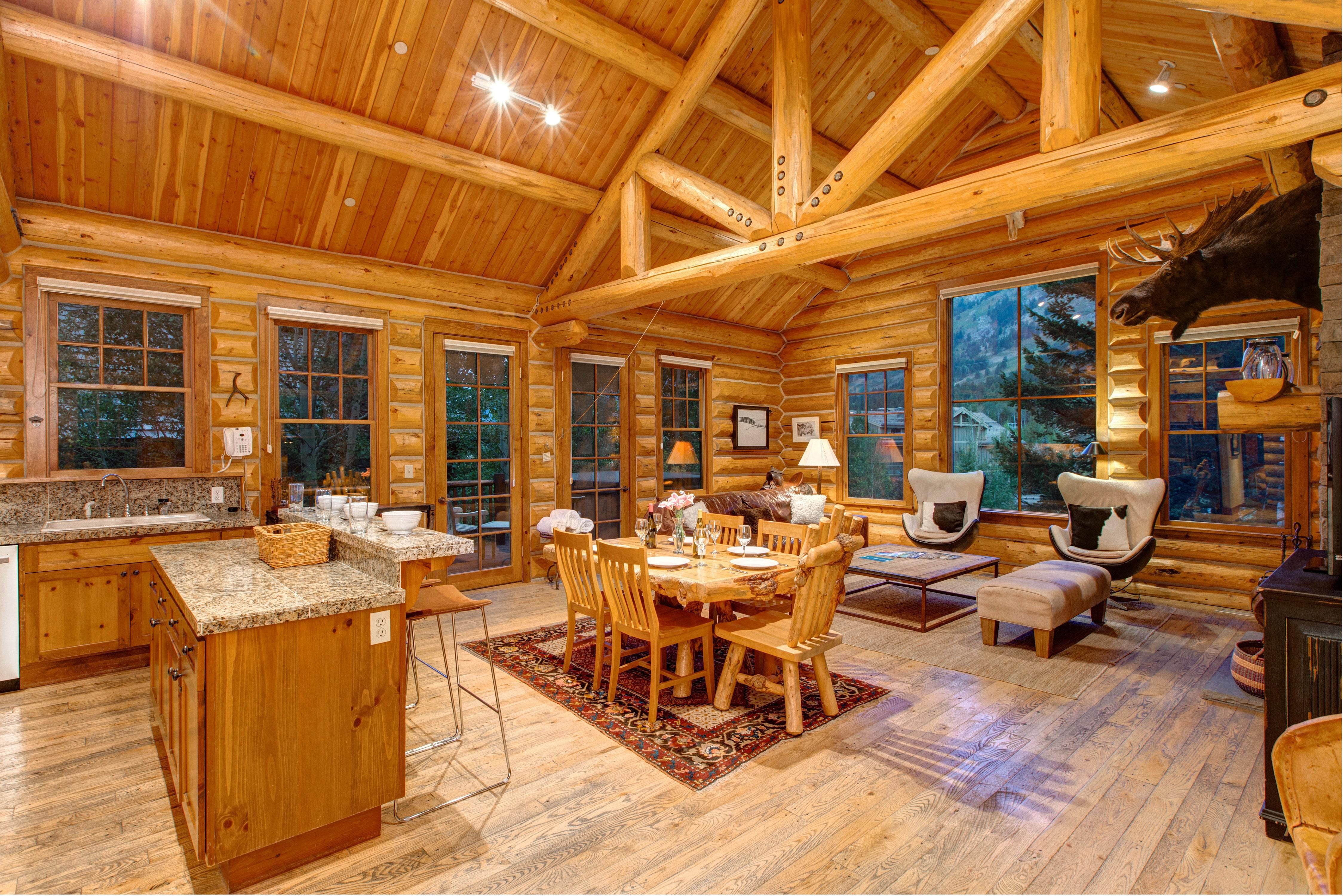 Abode Luxury Rentals Jackson Hole Moosehead Cabin Interior Kitchen Living 2 Jackson Hole Lodging Abode Jackson Hole