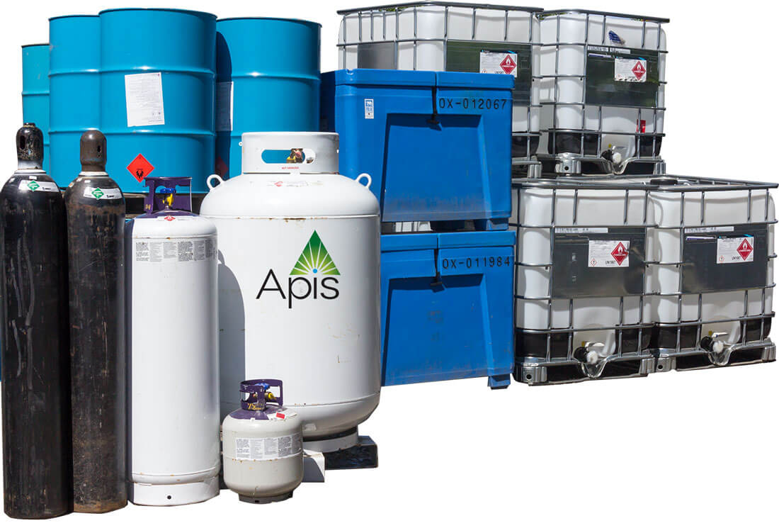 Extraction supply containers featuring the Apis Labs logo