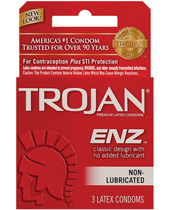Trojan ENZ Non-Lubricated Condoms: Box of 3
