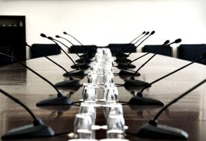 Boardroom with mics - common  commercial installed sound application