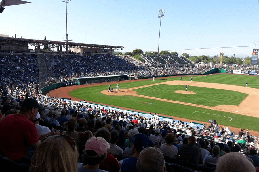 Hohokam Stadium from the stands. Photo courtesy Pro Sound Web.