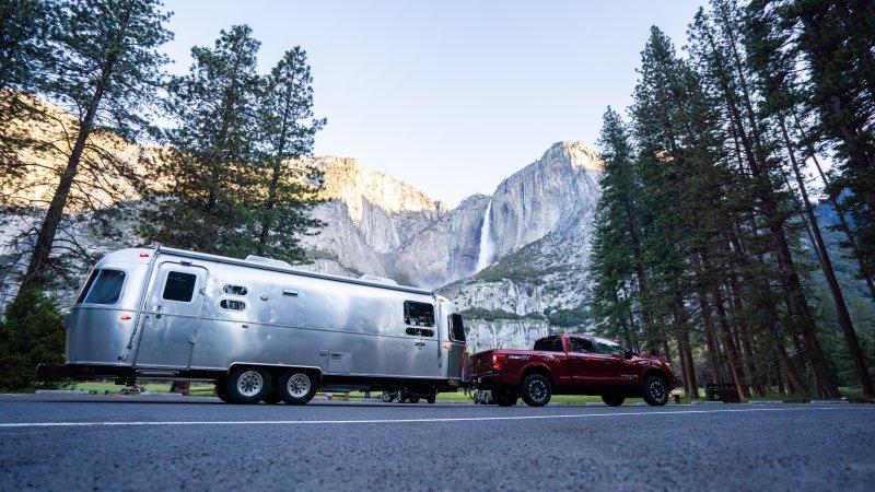 Towing an Airstream camping trailer through Yosemite National Park