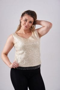 Vintage cream sequin top