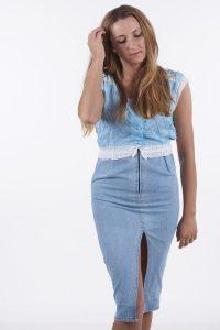 Vintage denim pencil dress