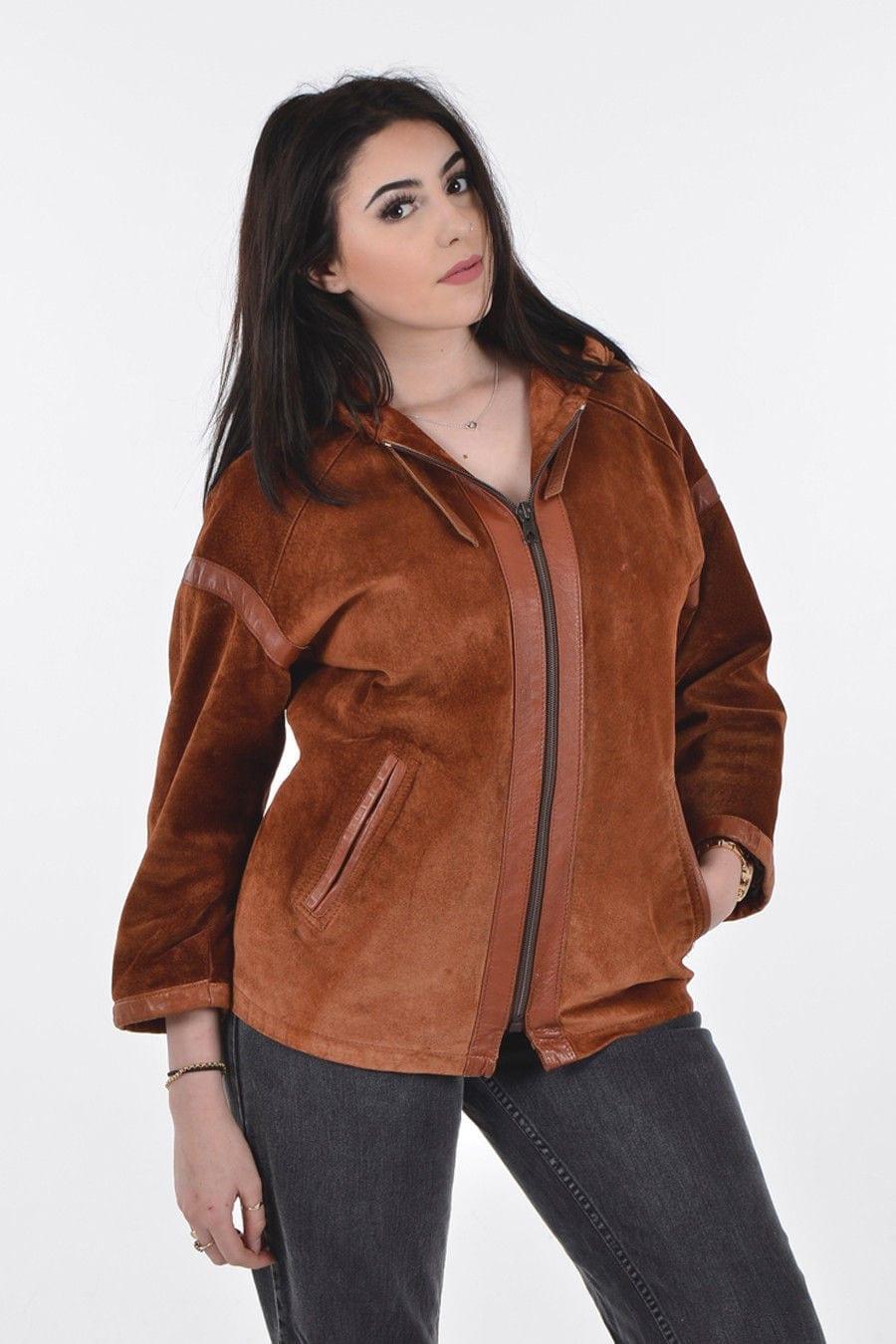 Vintage suede hooded coat