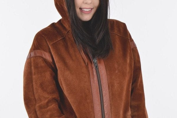Vintage suede hooded coat