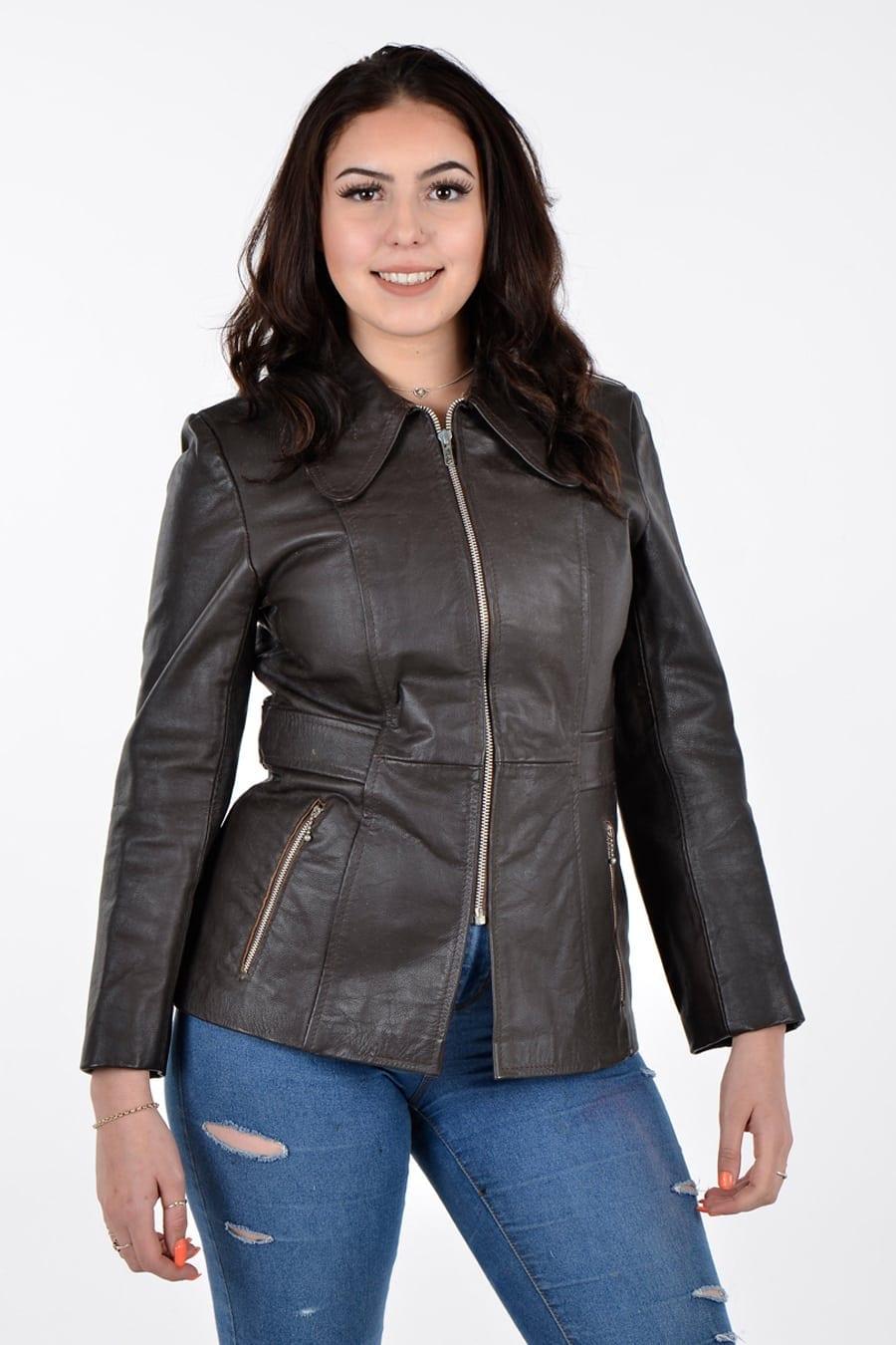 Vintage women's brown leather jacket