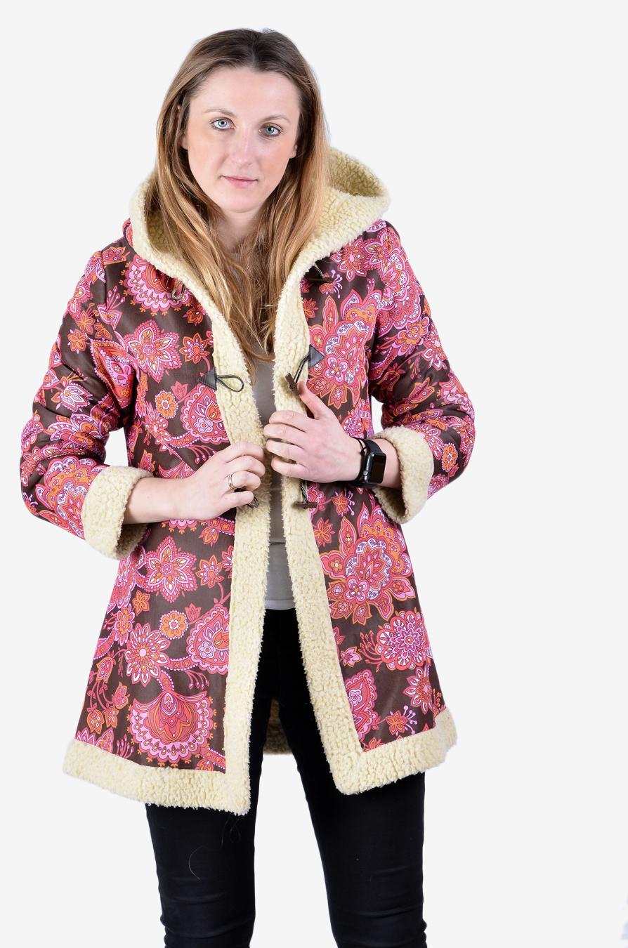 Vintage floral shearling coat