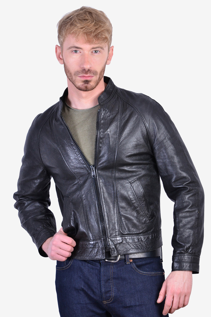 Vintage black leather bomber jacket