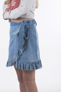 Vintage upcycled denim skirt