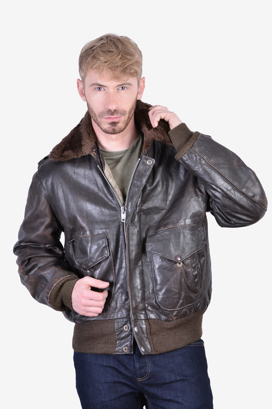 Vintage B3 type leather flight jacket