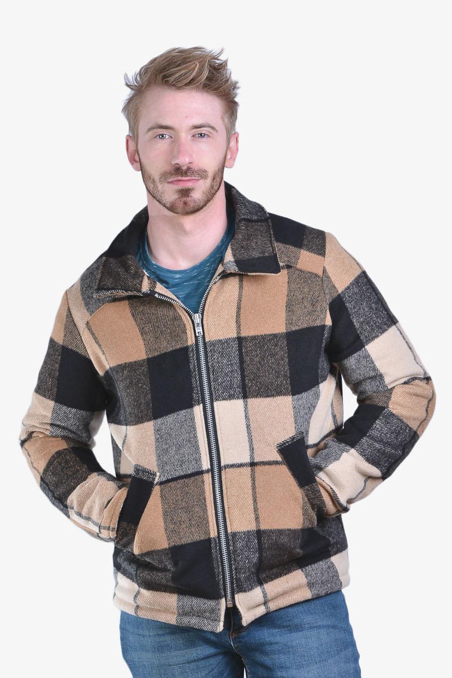 Retro check plaid coat