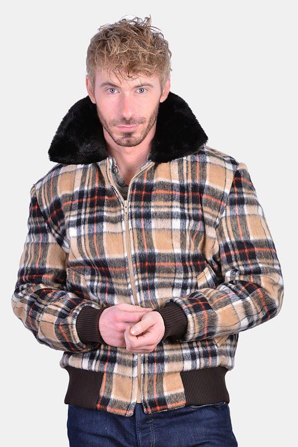 Vintage plaid bomber jacket