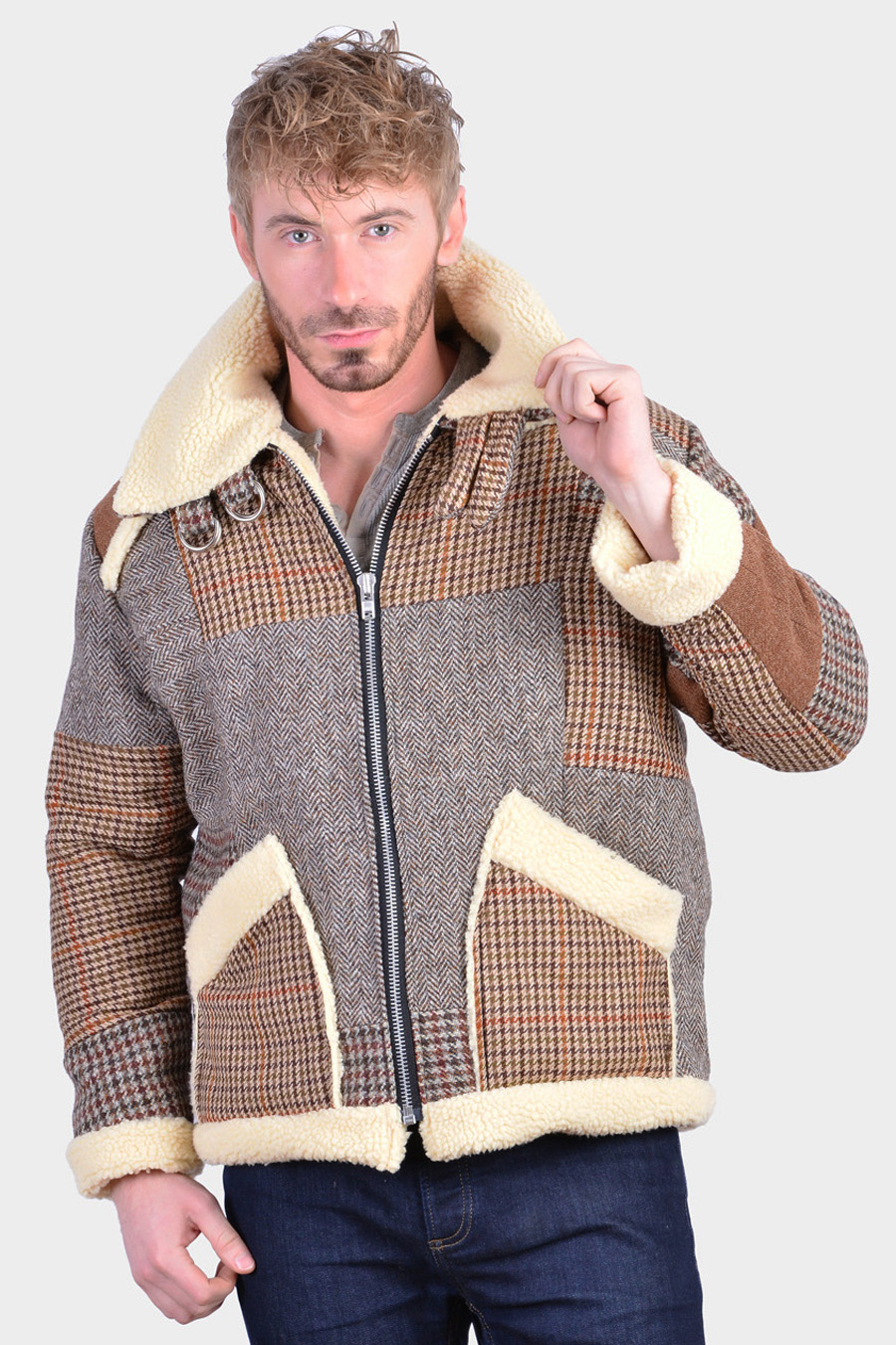 Vintage Harris Tweed bomber jacket