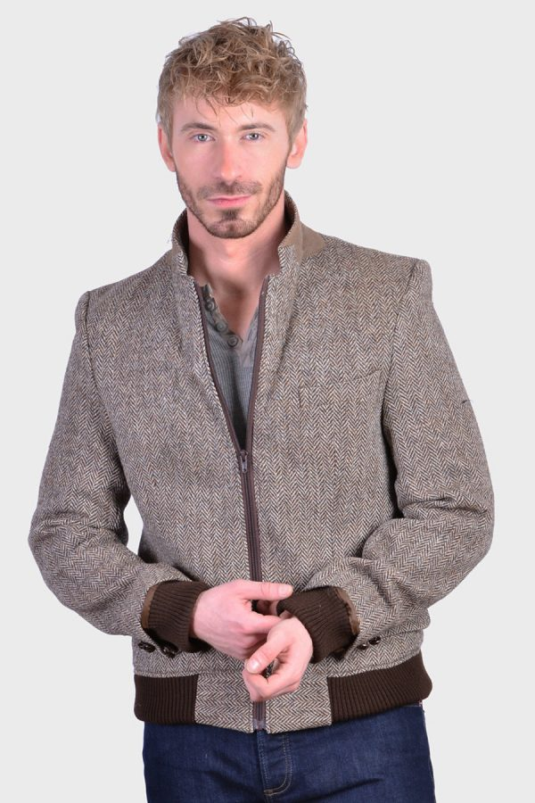 Vintage Harris Tweed bomber jacket