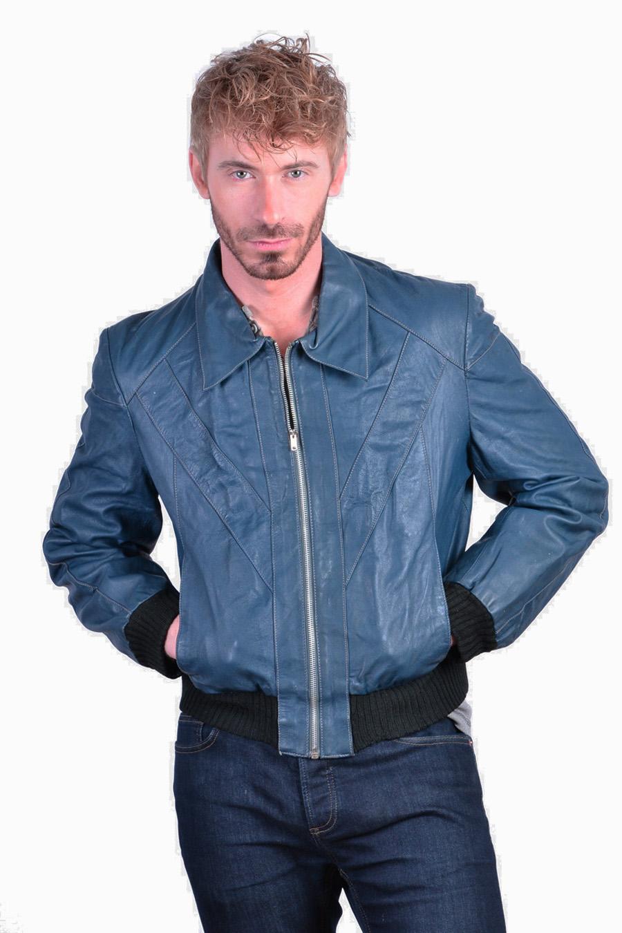 Vintage blue leather bomber jacket