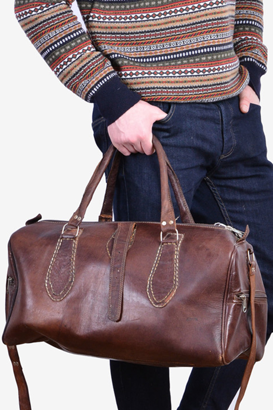 Vintage 1970's brown leather holdall bag