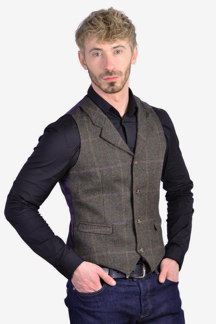 Vintage men's check tweed waistcoat