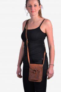 Vintage leather tooled shoulder bag