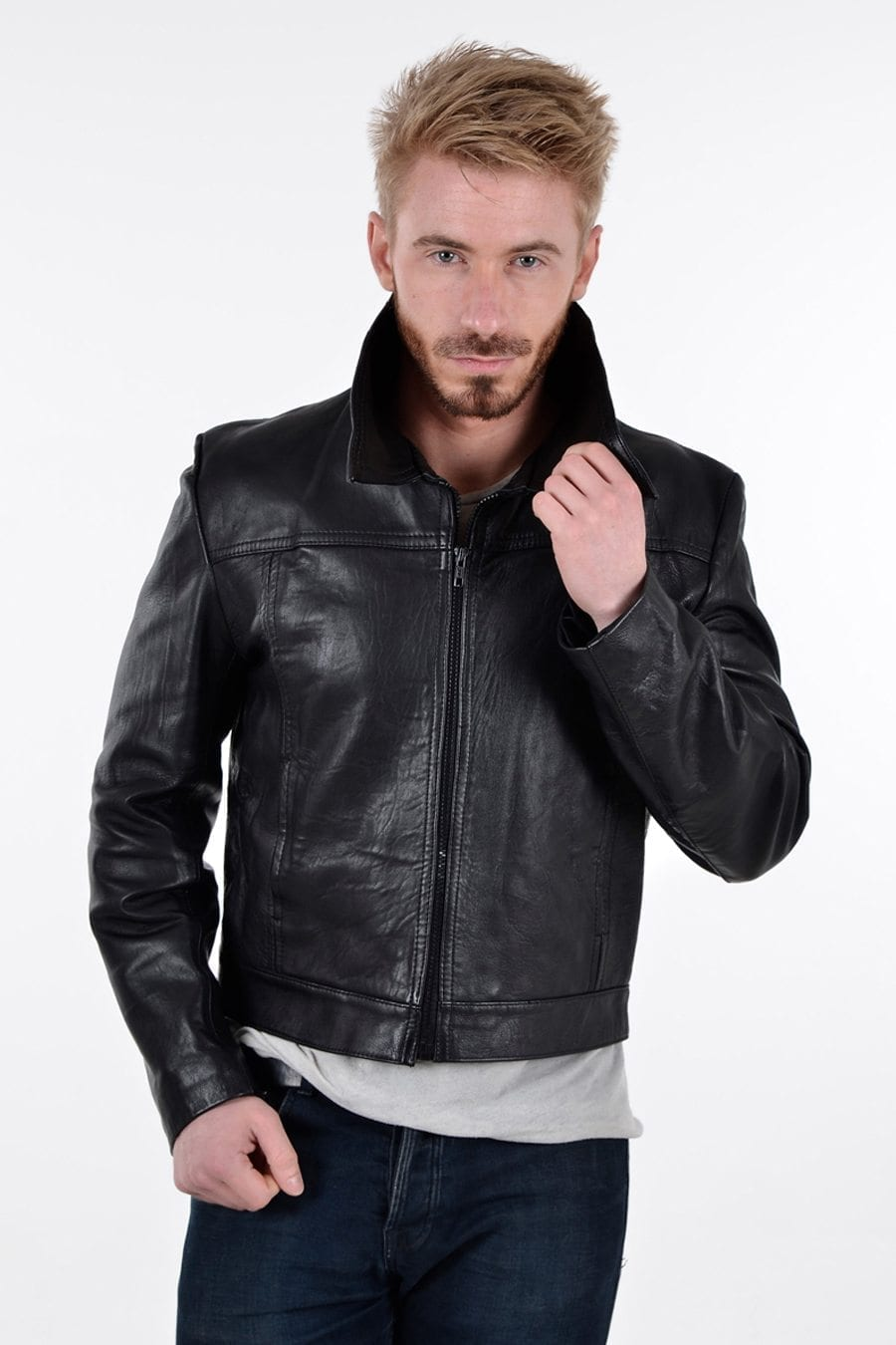 Vintage 1970's black leather bomber jacket