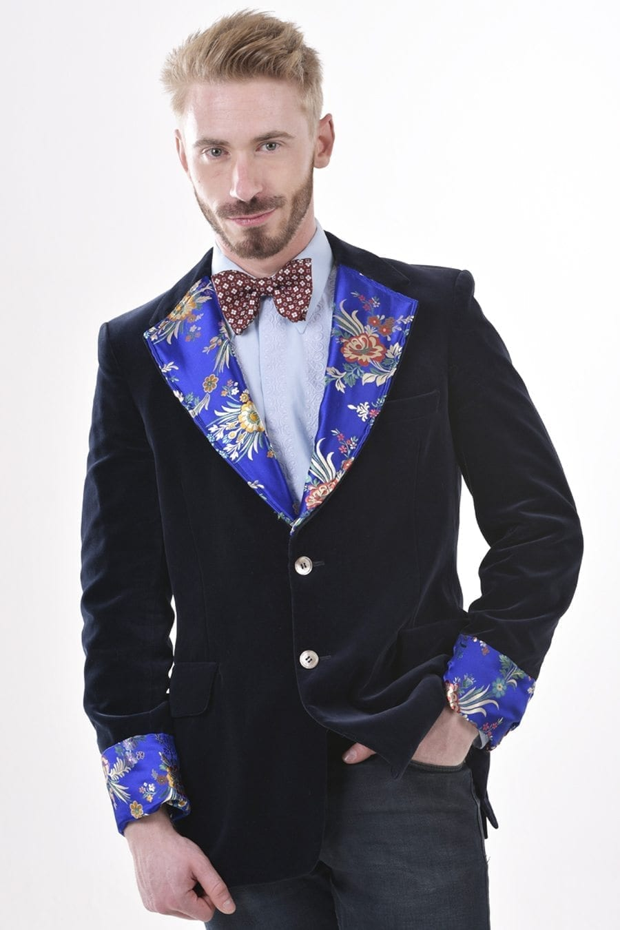 Vintage navy blue velvet jacket