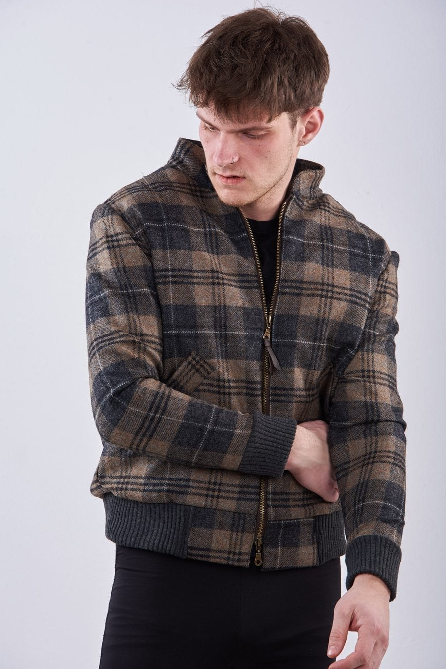 Bespoke check tweed bomber jacket