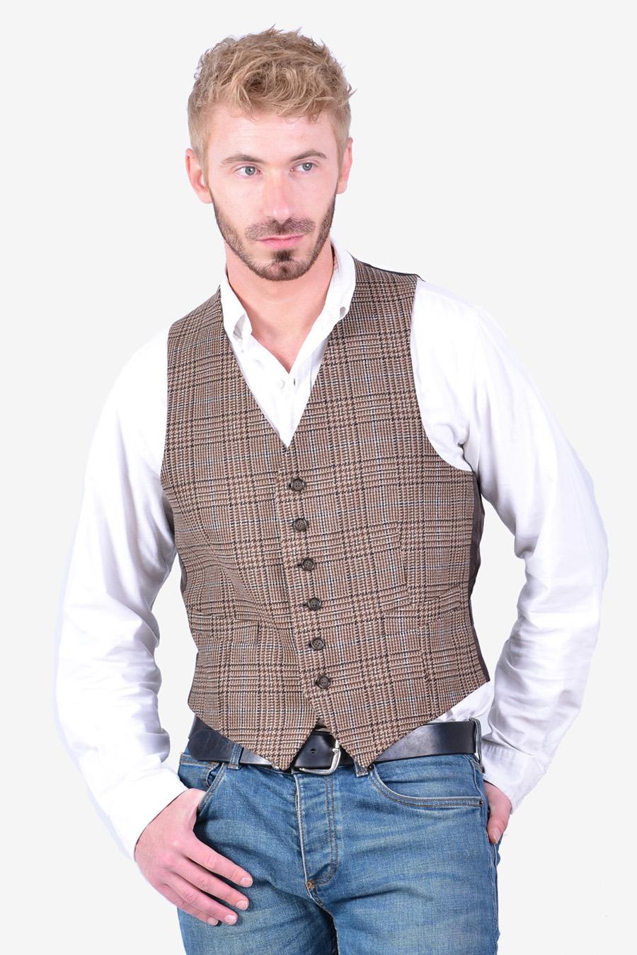 Vintage check tweed waistcoat