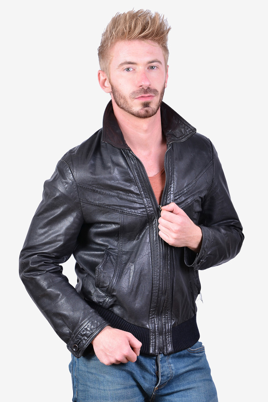 Men's 1970's black leather bomber jacket
