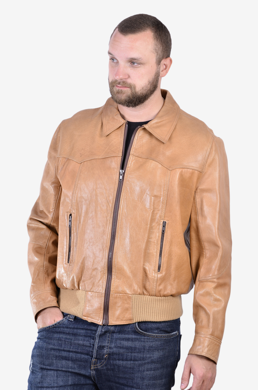 Vintage tan brown leather bomber jacket