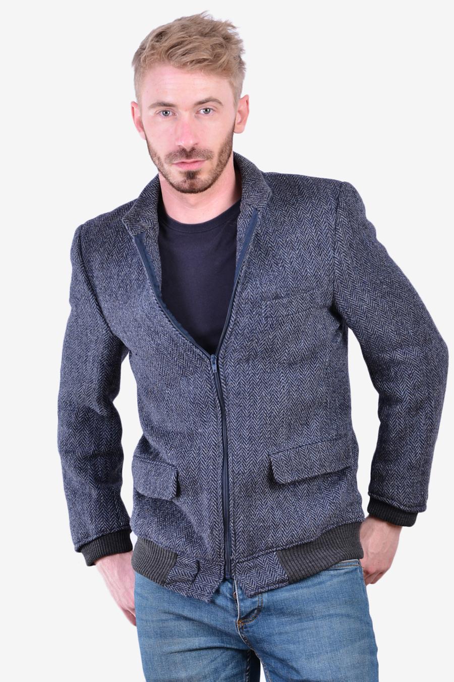 Vintage Harris Tweed herringbone bomber jacket