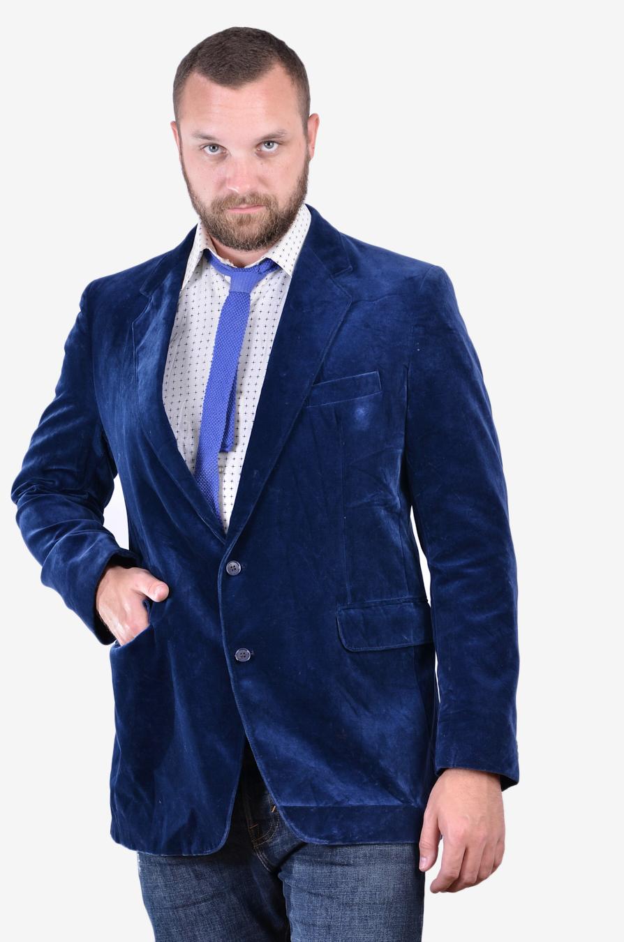 Vintage blue velvet jacket