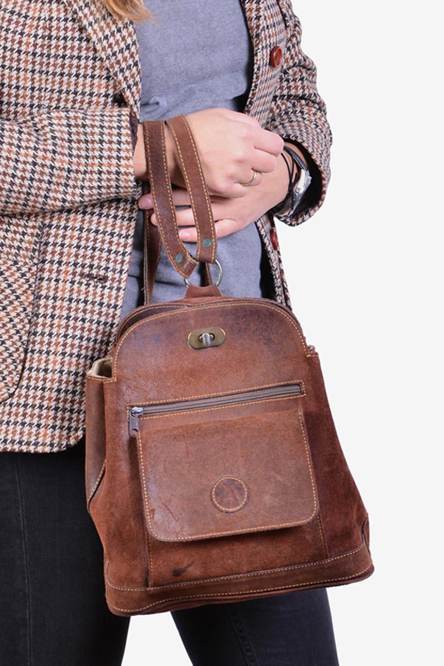 Vintage suede backpack