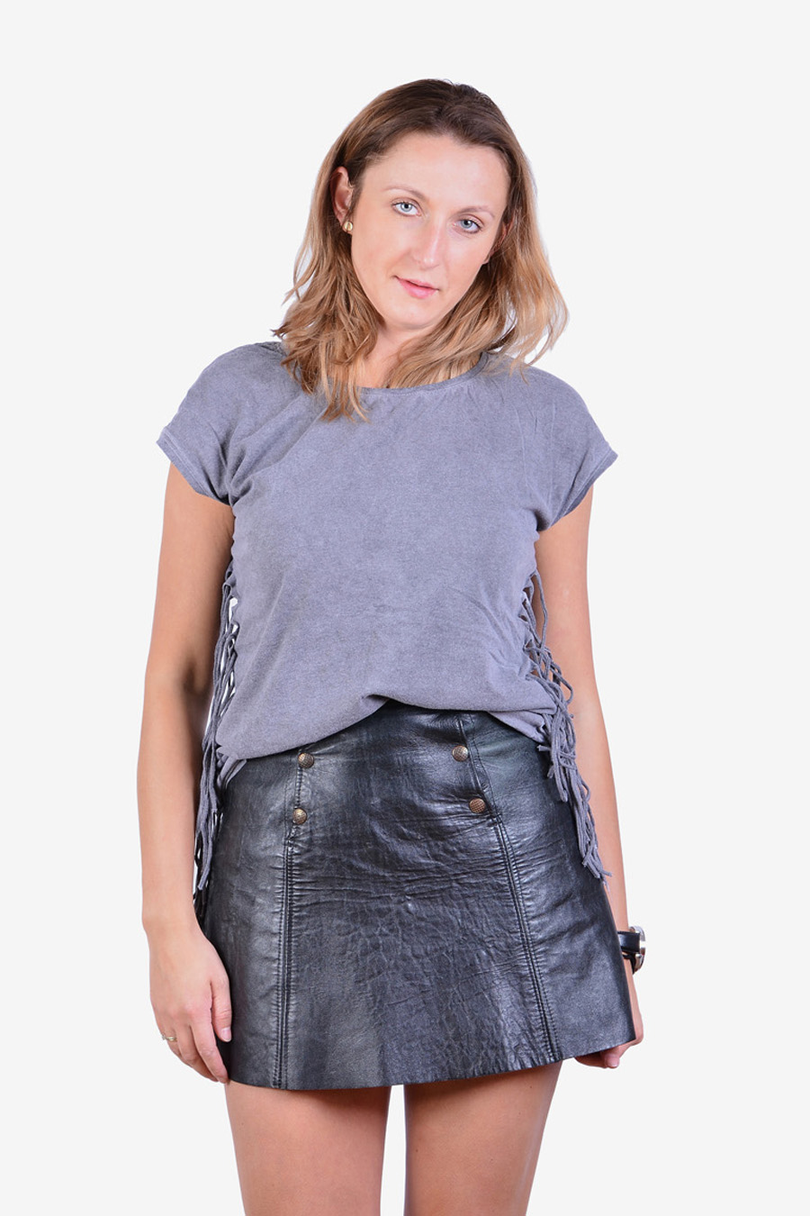 Vintage 1970's leather mini skirt