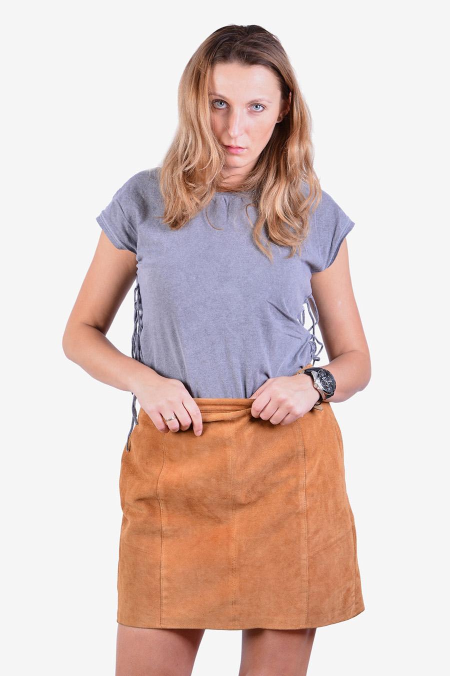 Vintage brown suede mini skirt