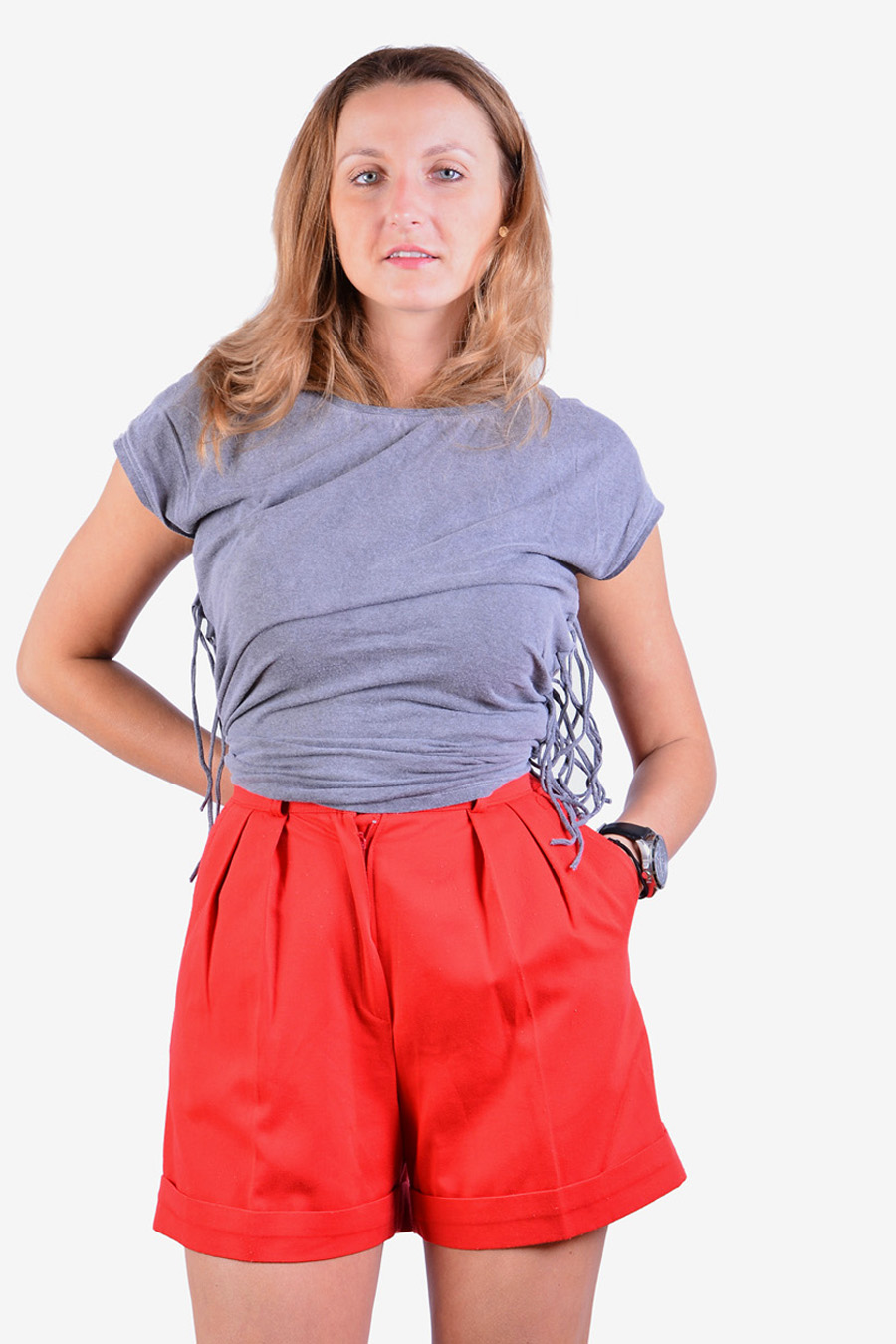 Vintage high waisted pleated shorts