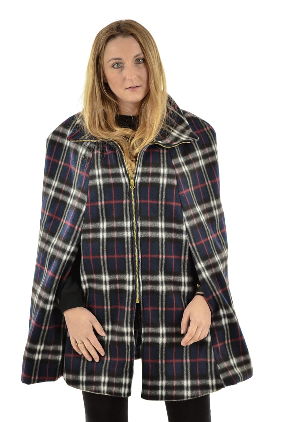 Plaid check cape