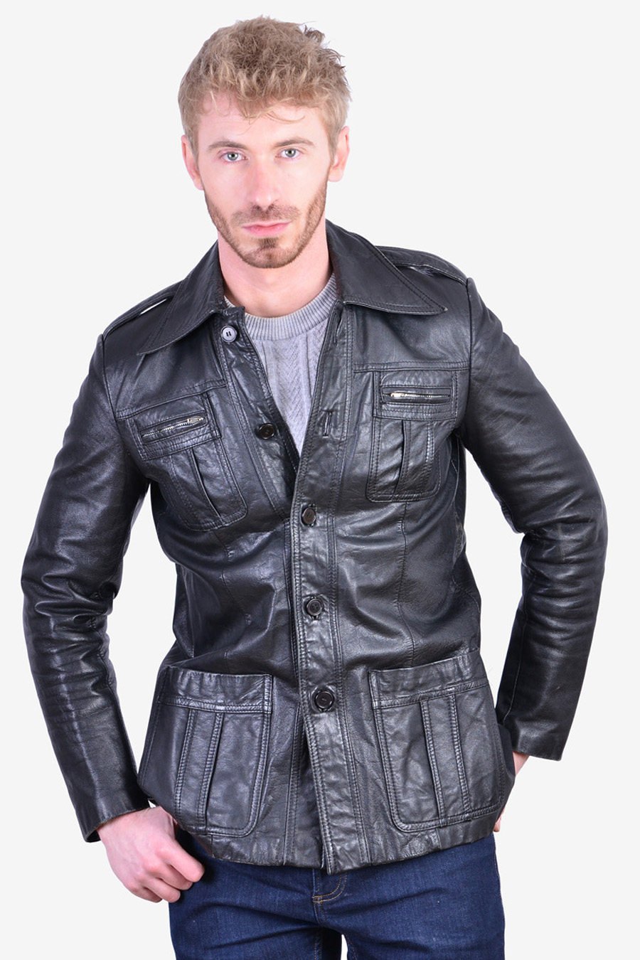 Retro vintage leather jacket