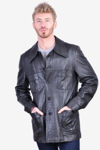 Vintage 1970's black leather jacket