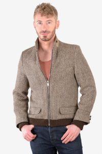 Vintage men's Harris Tweed bomber jacket