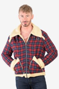 Men's check sherpa bomber jacket
