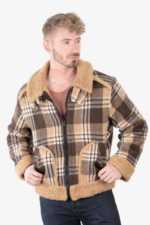 Vintage 1970's plaid sherpa jacket