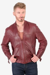 Vintage red leather bomber jacket
