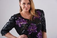 Vintage 1980's floral sequin top