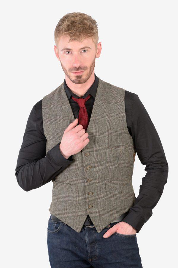 Vintage grey check tweed waistcoat