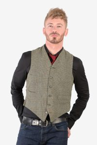 Vintage green check tweed waistcoat