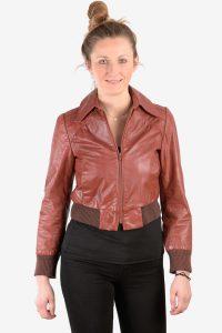 Women's vintage leather bomber jacket