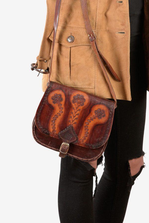Vintage floral tooled leather shoulder bag
