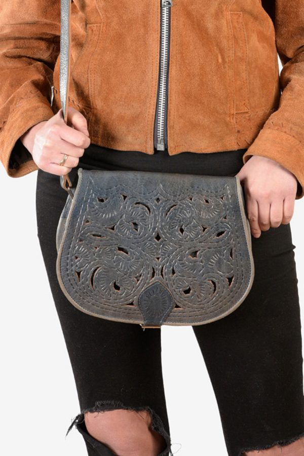 Vintage leather tooled saddle bag