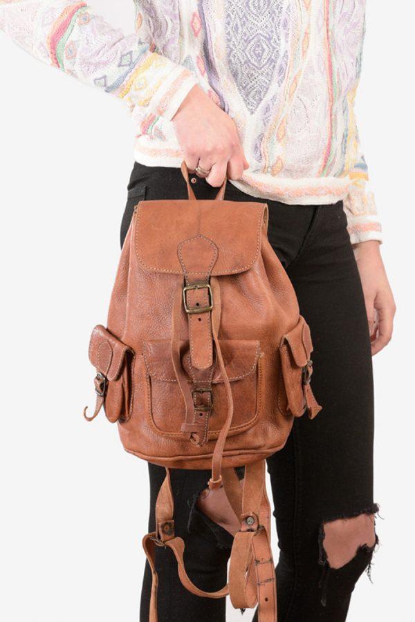 Vintage brown leather rucksack