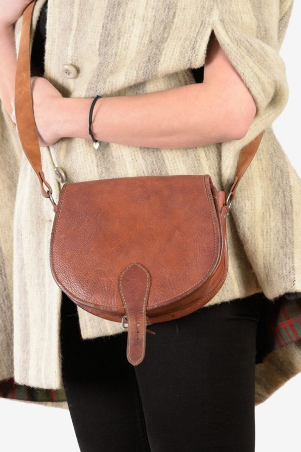 Vintage brown leather saddle bag